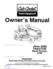 Cub Cadet GT 2186 Manuals