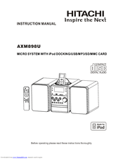 Hitachi AXM898U Manuals