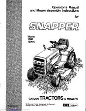Snapper 1600 Manuals