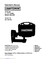 CRAFTSMAN 351.181730 Operator's Manual (10 pages)