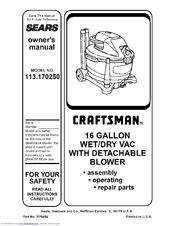 Craftsman 113.170250 Manuals