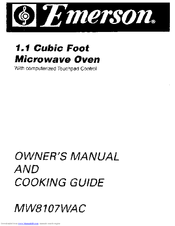 EMERSON MW8107WAC Owner's Manual & Cooking Manual
