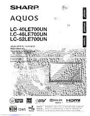 Sharp AQUOS LC-52LE700UN Manuals