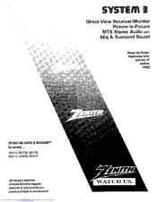 Zenith SYSTEM 3 SR2738RK Manuals