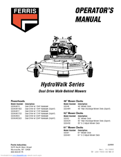 Ferris HydroWalk Series DDSKAV23 Manuals