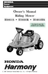 Honda power equipment HARMONY H1011R Manuals