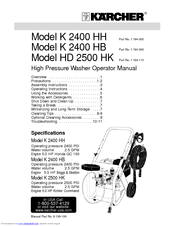 Karcher HD 2500 HK Manuals