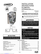 Lennox EL296UHV series Manuals