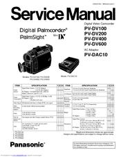 Panasonic Digital Palmcoder PalmSight PV-DV400 Manuals