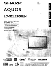 Sharp AQUOS LC-32LE700UN Manuals
