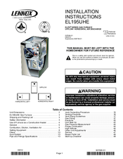 Lennox EL195UHE Elite Series Manuals