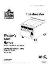 Toastmaster RH36C7W Manuals