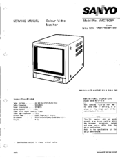 Sanyo VMC7509P Service Manual