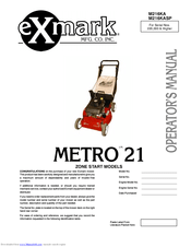 Exmark COMMERCIAL 21 Manuals