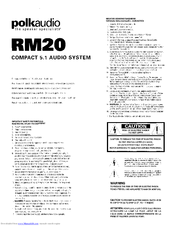 Polk Audio RM20 Manuals