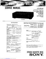 Sony TC-WR520 Manuals