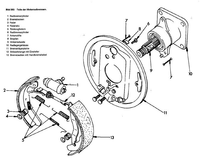 T3 Trommelbremse Zeichnung : Bremse hinten : VW T1, T2