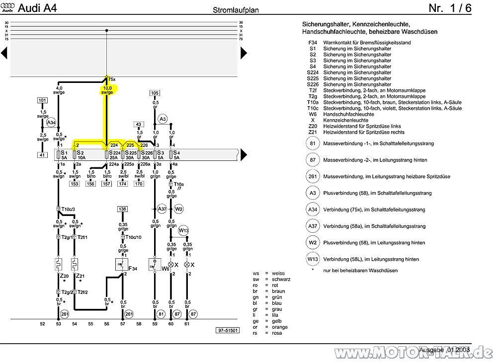 B5 FL X-Kontakt 3 : Suche nach Sicherung : Audi A4 B5