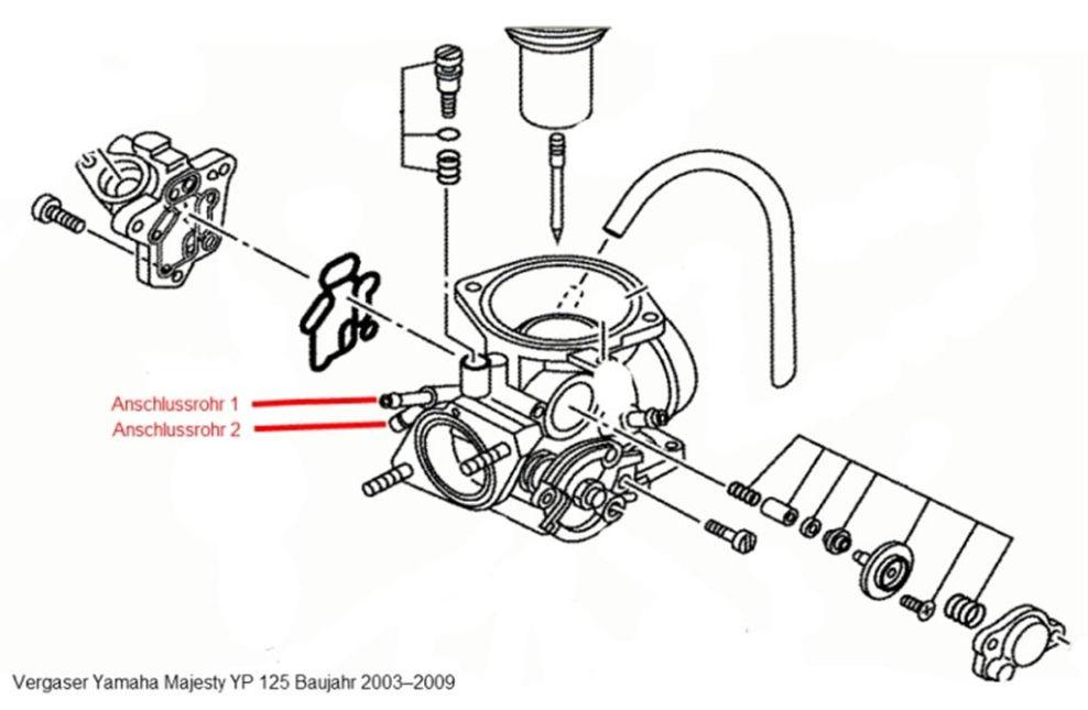 Zeichnung neuer Vergaser Modell ab 2003 : Yamaha Majesty