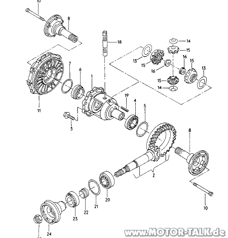 Ausgleichgetriebe : Explosionszeichnung hinterachse