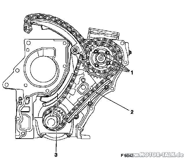 Steuerkette : Zafra 2.2 DTI Stirnseite Motor Zeichnung