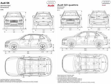 Vergleich Abmessungen Q3-Q5 : Audi Q3