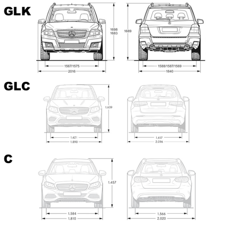Abmessungen Vergleich GLK/GLC/C : Mercedes GLC
