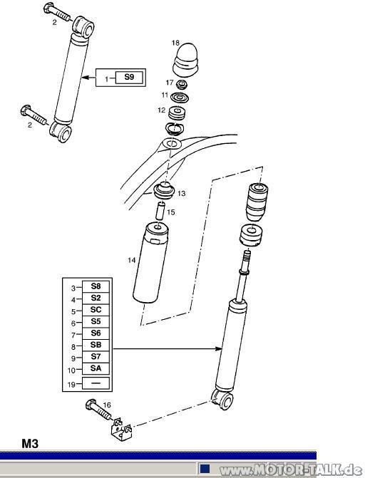Daempfer : Explosionszeichnung Dämpfer HA / Teilenummern