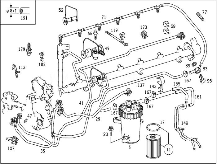 Leitungen : Austausch Kraftstoffleitungen E 320CDI im