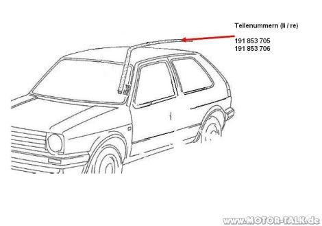 Bezugsquelle gesucht: Golf2 Dachleisten 2-türer : VW Golf