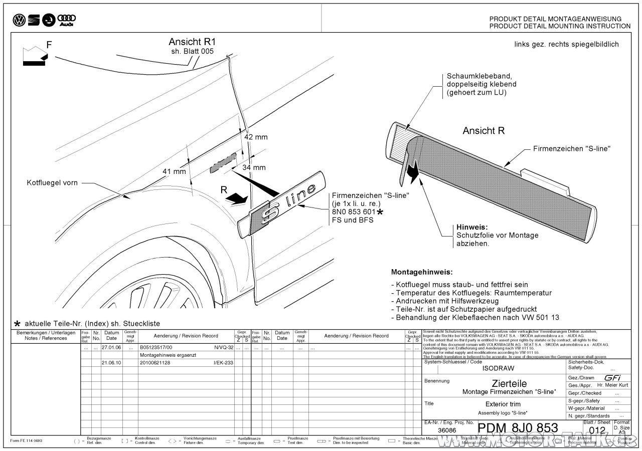 Pdm8j0853012-1 : Audi A5 S-LINE Emblem nachträglich