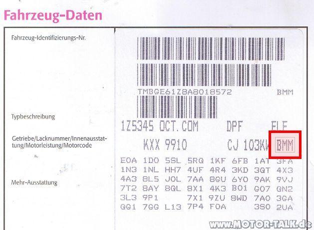Motorkennbuchstaben : Rückrufaktion PD 23H9 : Skoda