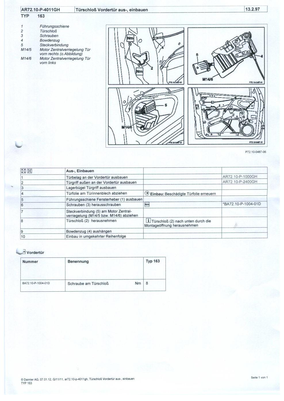 Tuerschloss-ein-ausbau : Fahrertürschloß ausbauen