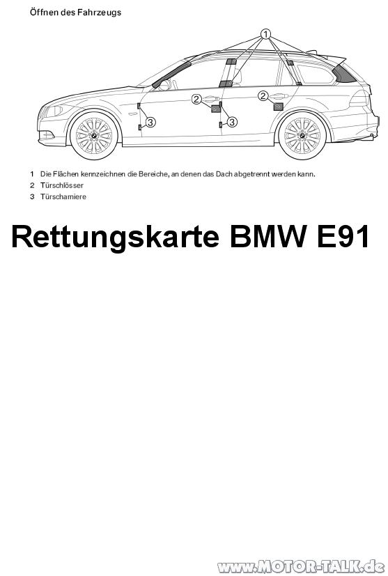 Rettungskarte-e91 : Rettungskarte : BMW 3er E90, E91, E92