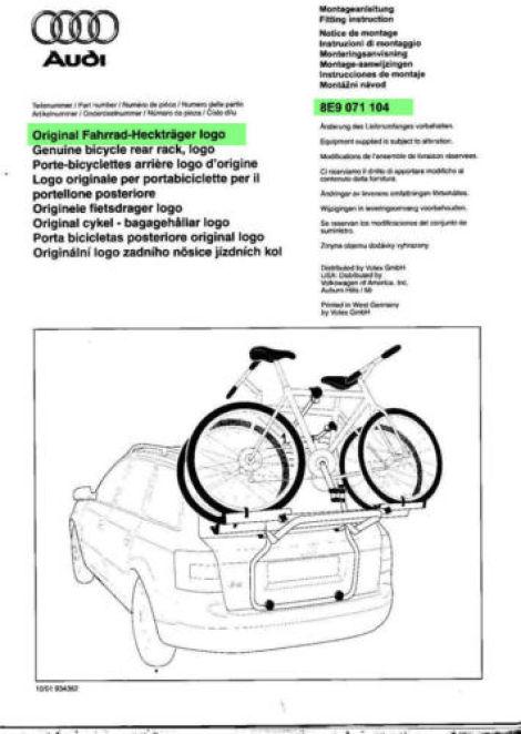 Original Logo Audi A4 B7 Avant Heckträger Fahrradträger