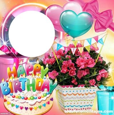 Photo Montage Happy Birthday Flowers Pixiz