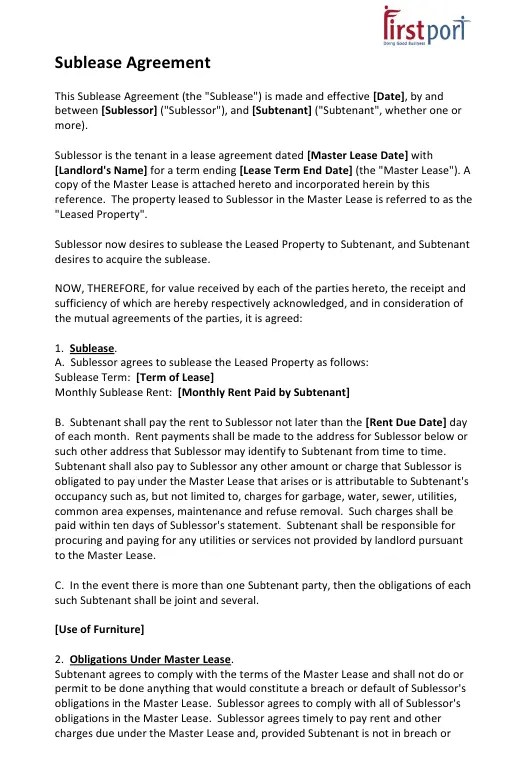 Master operating lease agreement example. Sublease Agreement Template First Port Download Printable Pdf Templateroller
