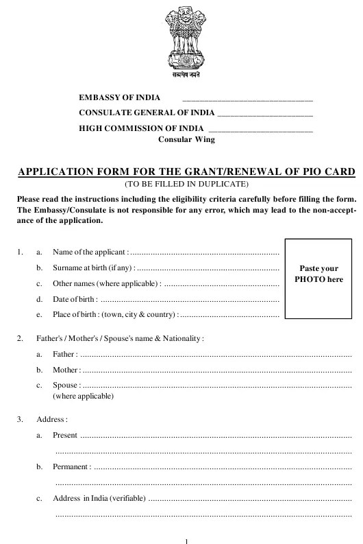 India Application Form for the Grant/Renewal of Pio Card - Embassy of India Download Printable PDF | Templateroller