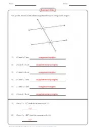 Supplementary Amp Congruent Angles Worksheet With Answer Key