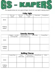 Camp Kaper Charts  Girl Scouts of the Usa Download Printable PDF  Templateroller