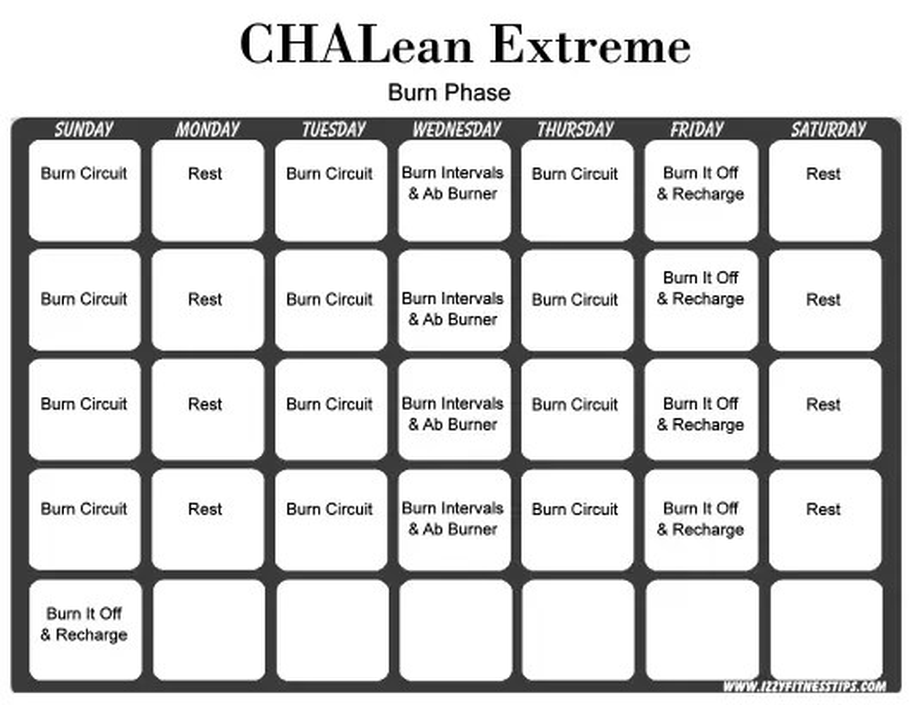 Chalean Extreme Burn Phase Weekly Workout Calendar