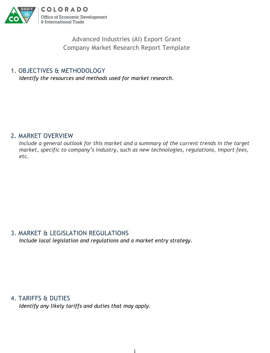 Discover the different types of market research, how to conduct your own market research, and use a free template to help you along the way. Colorado Advanced Industries Ai Export Grant Company Market Research Report Template Download Printable Pdf Templateroller