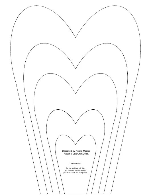 Heart Shaped Flower Petals Template Download Printable PDF