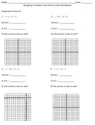 Graphing Parabolas in Standard Form Worksheet Download