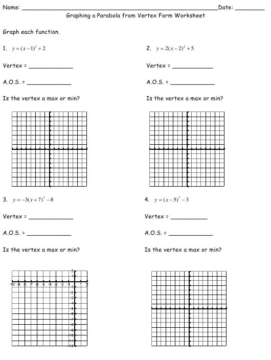 Graphing a Parabola From Vertex Form Worksheet Download