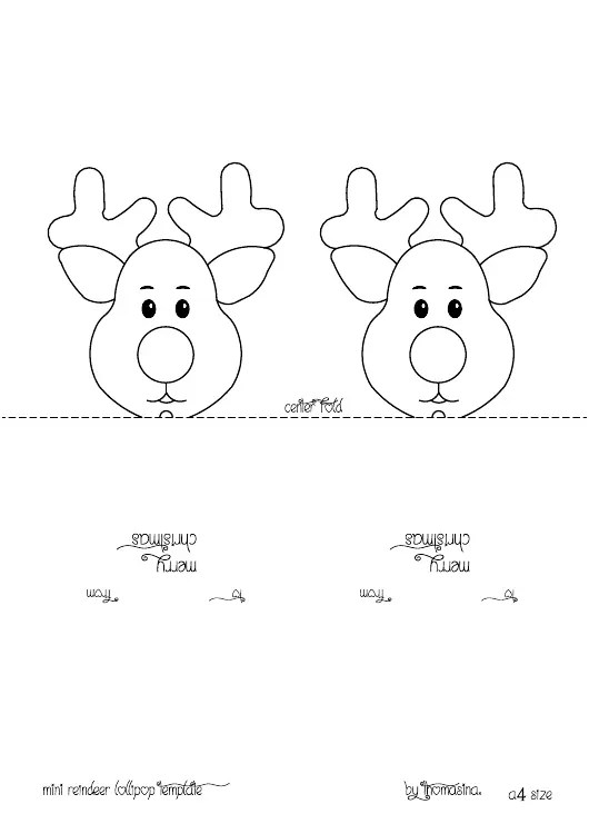 Mini Reindeer Head Lollipop Template Download Printable