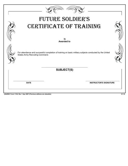 USAREC Form 1136 Download Fillable PDF or Fill Online