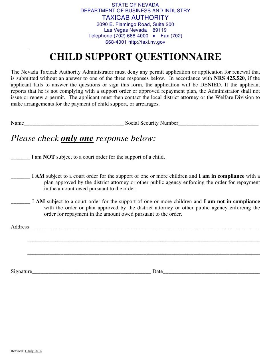 Nv Child Support Card : child, support, Nevada, Child, Support, Questionnaire, Download, Printable, Templateroller