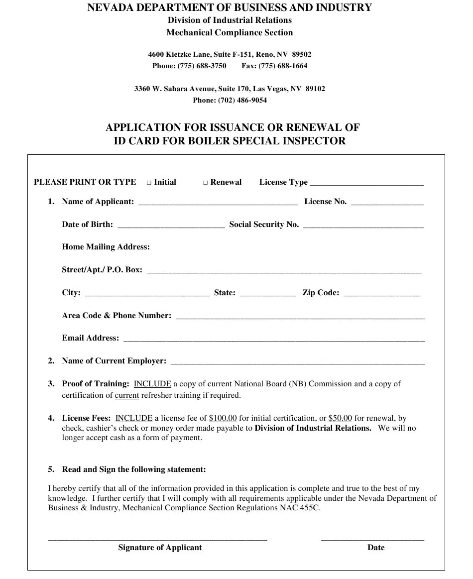 Nv Child Support Card : child, support, Nevada, Application, Issuance, Renewal, Boiler, Special, Inspector, Download, Printable, Templateroller