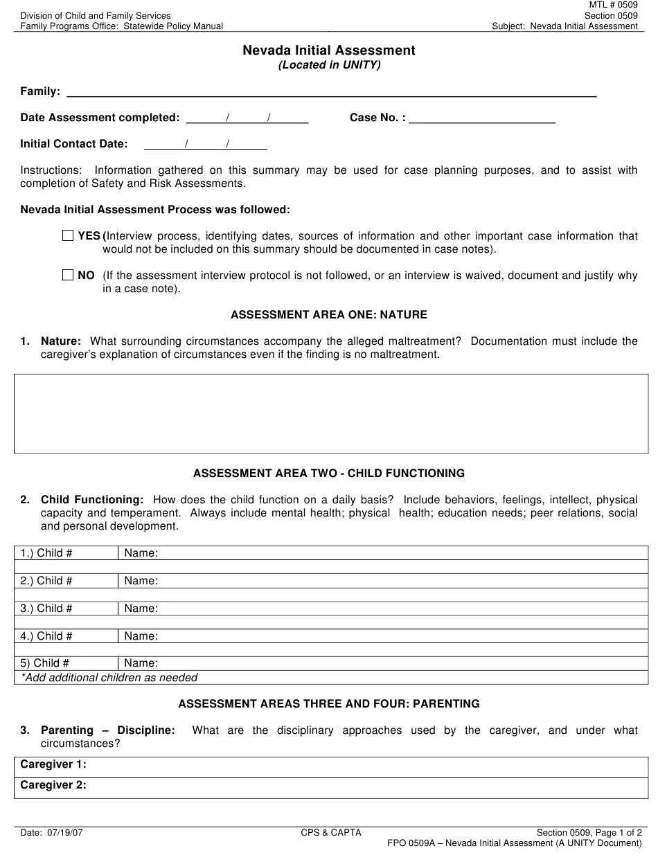Form FPO0509A Download Printable PDF or Fill Online Nevada Initial Assessment (Located in Unity) Nevada   Templateroller